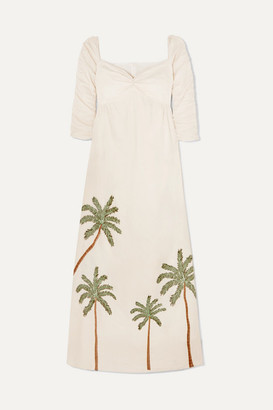 Agua Bendita Agua By America Ruched Embroidered Linen Maxi Dress