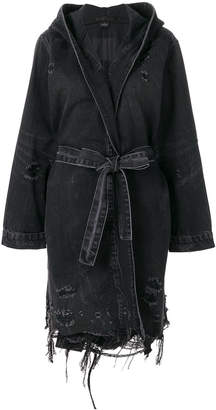 Alexander Wang hooded long-line denim jacket