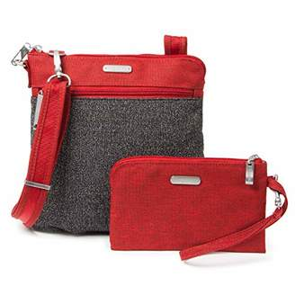 Baggallini Anti-Theft Slim Crossbody Bag - Stylish Long-Strap Purse With Locking Zippers and RFID-Protected Wristlet