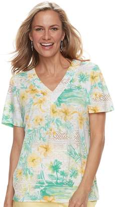 Alfred Dunner Women's Studio Tropical Print Top