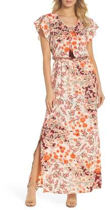 Adrianna Papell Floral Ruffle Sleeve Maxi Dress (Plus Size)