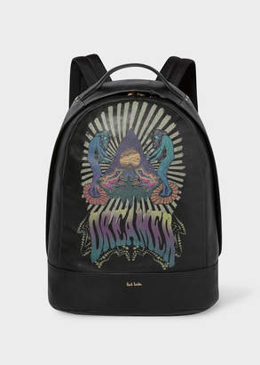 Paul Smith Men's Black Leather Backpack With 'Dreamer' Print