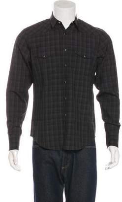 Saint Laurent Plaid Wool Western Shirt
