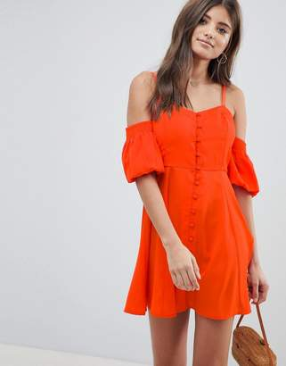 Asos DESIGN Puff Sleeve Cold Shoulder Mini Sundress