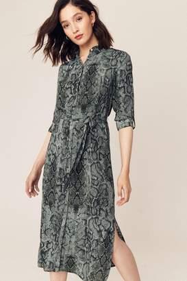 Oasis Womens Grey Snake Print Shirt Dress - Green