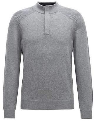 HUGO BOSS Zip-neck sweater in a wool-cotton blend