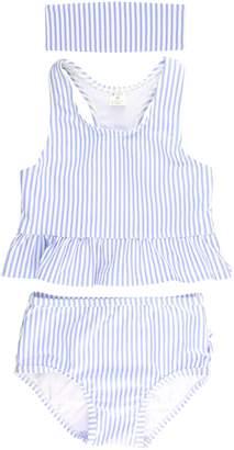RuffleButts Two-Piece Swimsuit & Headband Set