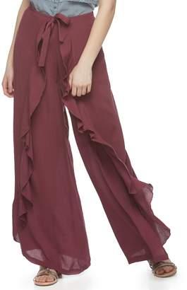 Vanilla Star Juniors' Ruffled Soft Wide-Leg Pants