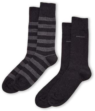 HUGO BOSS Two-Pack Block Stripe Crew Socks