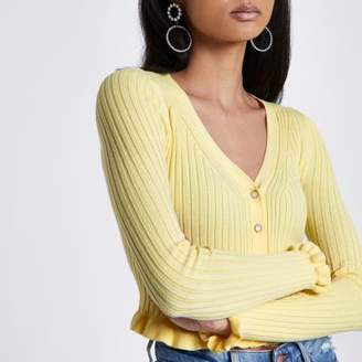 River Island Womens Light yellow ribbed frill cropped cardigan