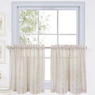 Asstd National Brand Linen Stripe 2-pack Rod-Pocket Sheer Window Tiers