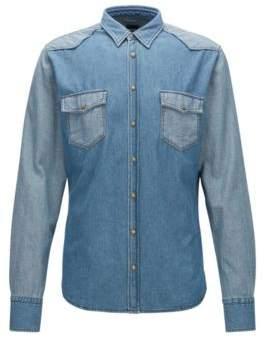 BOSS Hugo Cotton Button Down Western Shirt, Slim Fit Erodeo M Dark Blue