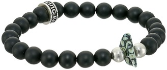 King Baby Studio - 8mm Onyx Bead Bracelet with Natural Top Hat Spotted Turquoise Bracelet $260 thestylecure.com
