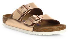 Birkenstock Arizona Metallic Leather Buckle Sandals $135 thestylecure.com