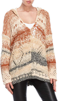 Free People In My Arms Open Knit Hooded Sweater