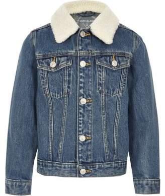 River Island Kids blue denim fleece collar jacket