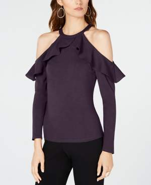 INC International Concepts I.n.c. Ruffle-Detail Cold Shoulder Top, Created for Macy's