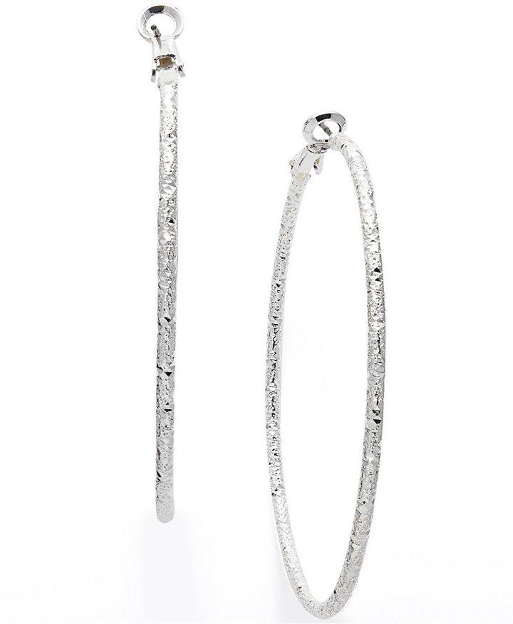 Charter Club Large Silver-Tone Textured Hoop Earrings
