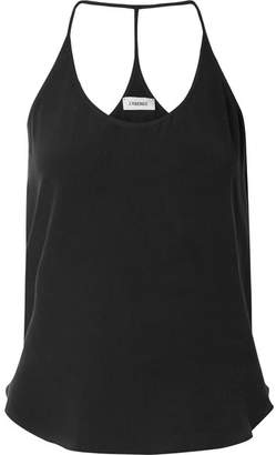 L'Agence Mary Jane Washed-silk Camisole - Black