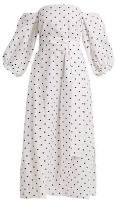 Lisa Marie Fernandez Rosie Off The Shoulder Polka Dot Linen Dress - Womens - White Black