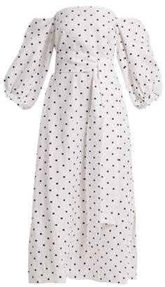 Lisa Marie Fernandez - Rosie Off The Shoulder Polka Dot Linen Dress - Womens - White Black