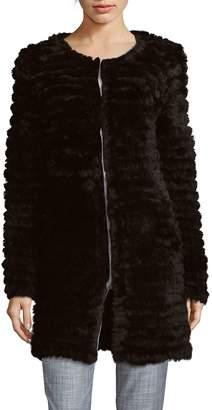 Adrienne Landau Women's Knitted Rabbit Fur Coat