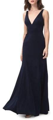 Jenny Yoo Jade V-Neck Crepe Fit-&-Flare Gown