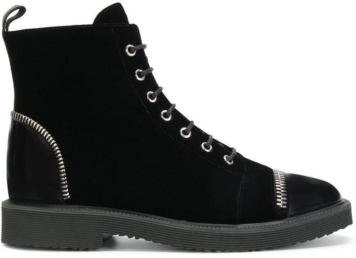 Giuseppe Zanotti Design velvet lace-up boots