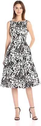 Adrianna Papell Women's Sleeveless Print Mikado Party Dress, White/Black
