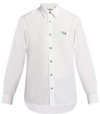 Burberry Logo Embroidered Cotton Blend Poplin Shirt - Mens - White