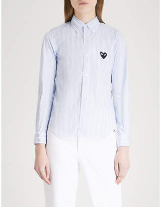 Comme des Garcons Heart-embroidered pinstriped cotton shirt