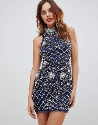 A Star Is Born High Neck All Embellished Embellished Racer Mini Bodycon Dress
