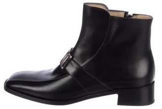 Salvatore Ferragamo Leather Square-Toe Ankle Boots