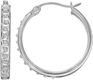 Mystique Diamond Sterling Silver Hoop Earrings