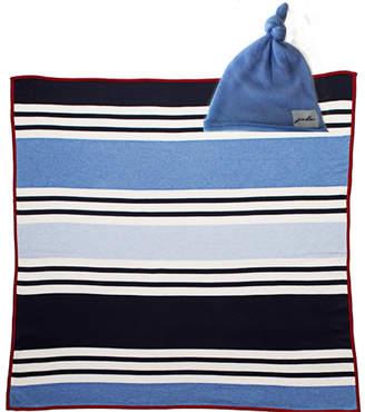 Striped Cashmere/Organic Cotton Blanket & Bonnet Gift Set