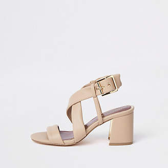River Island Beige cross strap block heel sandals