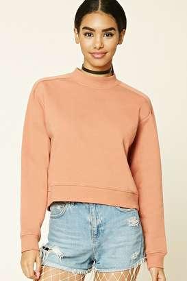 FOREVER 21+ Mock Neck Fleece Sweatshirt $15.90 thestylecure.com