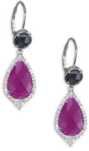 Meira T Diamonds Ruby& 14K White Gold Drop Earrings