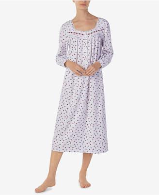 Eileen West Floral-Print Cotton Knit Ballet-Length Nightgown