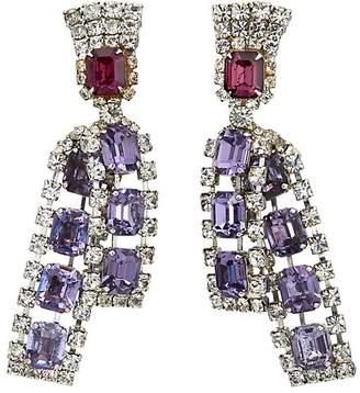 Loren Stazia Women's Purple Diamanté Drop Earrings