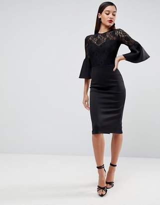 Asos DESIGN Lace Top Fluted Sleeve Bodycon Midi Dress