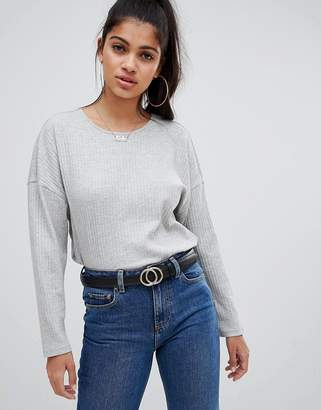 Asos Design DESIGN long sleeve t-shirt with batwing in grey