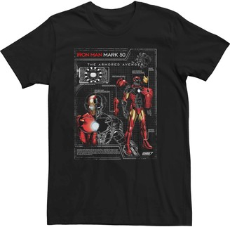 Iron Man Licensed Character Men's Marvel Mark 50 Schematic Tee