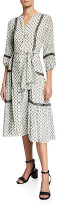 Shoshanna Sandrelli Geometric Clip Dot V-Neck 3/4-Sleeve Dress