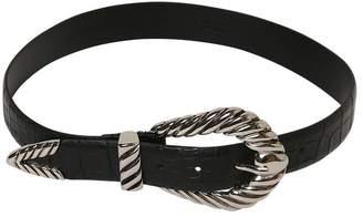 Alberta Ferretti 30mm Croc Embossed Leather Belt
