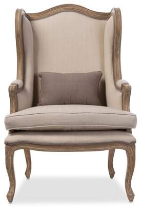 Baxton Studio Oreille French Provincial Style White Wash Distressed 2-Tone Beige Upholstered Armchair