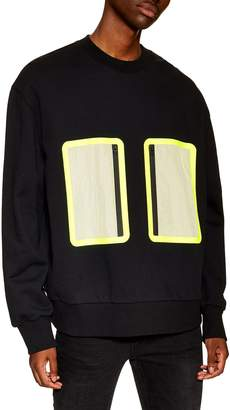 Topman Nylon Pocket Oversized Sweatshirt