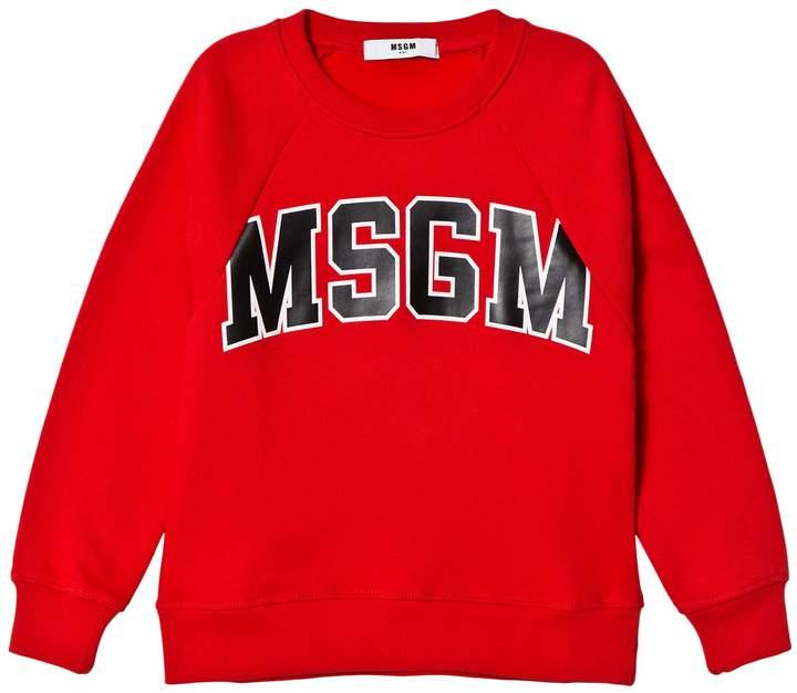 Msgm Red Logo Sweatshirt