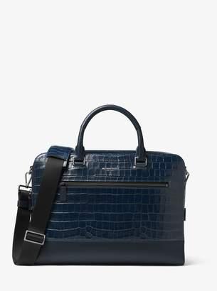 Michael Kors Harrison Crocodile-Embossed Leather Briefcase