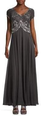 J Kara Embellished Bodice A-Line Gown